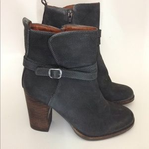 Lucky Brand Gray Leather Ankle Boots